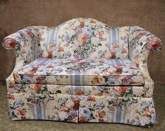 Ethan Allen Romantic Floral Loveseat w/Skirted Bottom