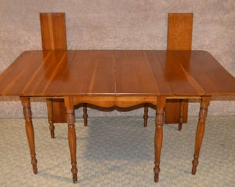 Vintage Country Style Solid Cherry Drop Leaf Table W/2 Leaves