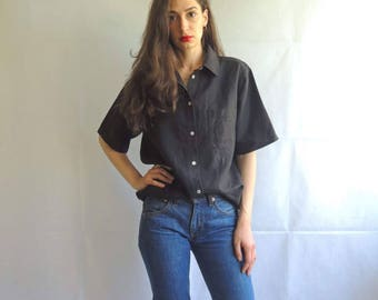 Vintage Black Linen Short Sleeve Button Up Blouse