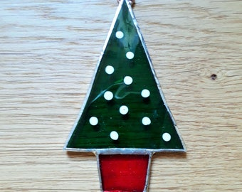 Christmas Tree, Stained Glass Christmas Tree Decoration. Suncatcher, Gift or Decoration. Window Hanging. Green Glass.