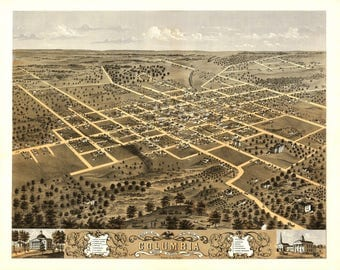 Columbia Missouri Panoramic Map dated 1869.  This print is a wonderful wall decoration for Den, Office, Man Cave or any wall.