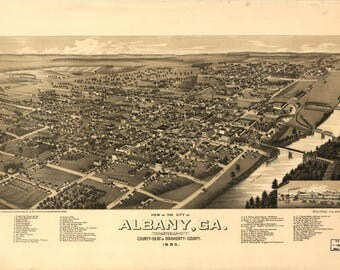 Albany GA Panoramic Map dated 1885. This print is a wonderful wall decoration for Den, Office, Man Cave or any wall.