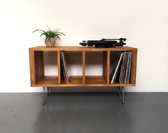 Sonor Small Record Player or TV Stand with Vinyl Storage Solid Wood on Mid Century Hairpin Legs.