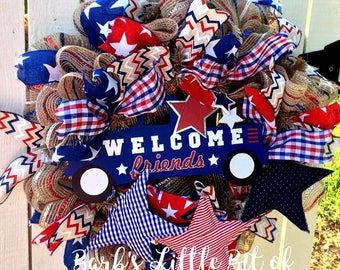 Patriotic Wreath, Patriotic Welcome, Wreath, 4th of July Wreath, Americana Wreath, Stars and Stripes Wreath, Summer Welcome Wreath
