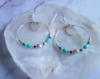 Silver hoop earrings 925 Silver and turquoise beads
