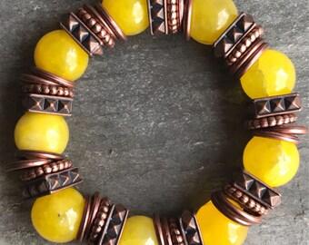 Yellow & Copper Gemstone Bracelet