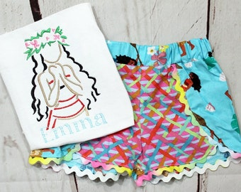 Girls Moana Shirt- Moana Birthday Shirt-Moana Outfit- Toddler Girl- Moana Shorts- Island Girl-Baby Girl- 6m, 12m, 18m, 2t, 3t, 4, 5, 6 8
