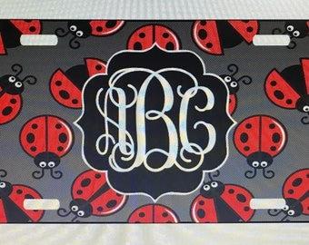 Lady bug License plate monogram car tag