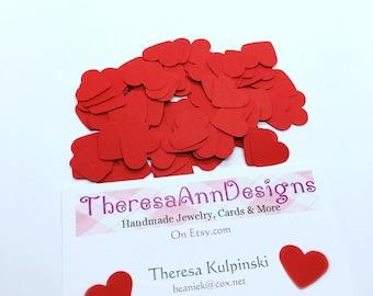 Red Heart Confetti, Heart Confetti, Christmas Confetti, Table Confetti, Heart Die Cuts, 100 Count