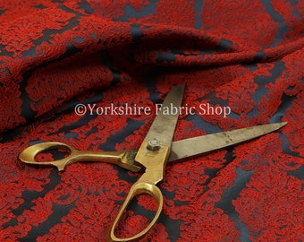 Embroidery Feel Raised Textured Damask Pattern Red Chenille Upholstery Fabric - Sold By The 1 Metre