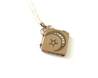 Antique Victorian Crescent Moon and Star Locket Fob Necklace