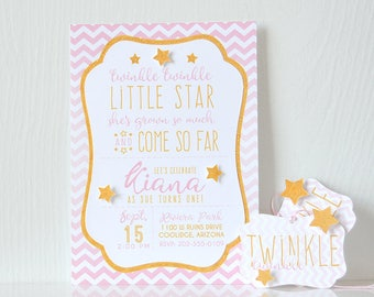 Chevron Stars Invitations: sparkles, twinkle twinkle, patterned, stripes, layered, printable, prints, boy or girl, stars - LRD048P