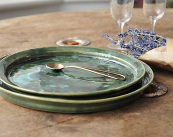 Set Of Two Serving Green Plates