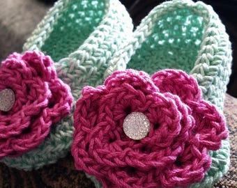 Hand Crocheted Toddler Girls' Slippers