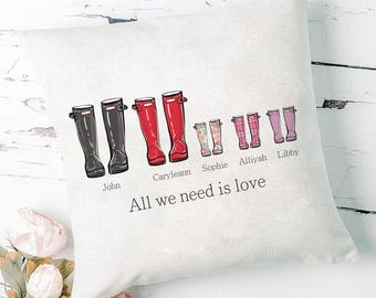 Personalised Family Tree Pillow, Family Welly Boot, Anniversary Gift, Father's Day Gift, New Family, Gift For Parents, Housewarming Gift