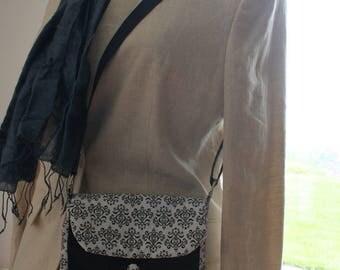 flap Messenger bag black and white adjustable shoulder strap