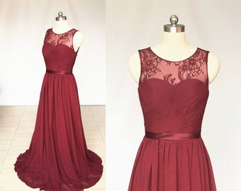 Scoop Sweetheart Burgundy Lace Chiffon Long Bridesmaid Dress