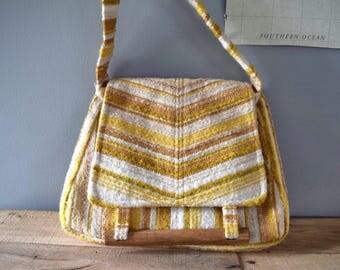 Vintage Yellow Striped Fabric Shoulder Bag