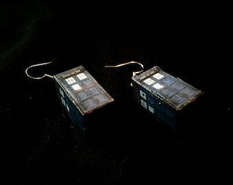 Tardis Time Lord Doctor Who Inspired Dangling Earrings