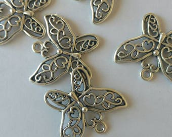 USA Seller..Lot of 5 large Butterfly Charms..3 cm