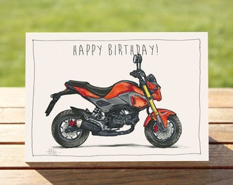 """Motorcycle Birthday Card 