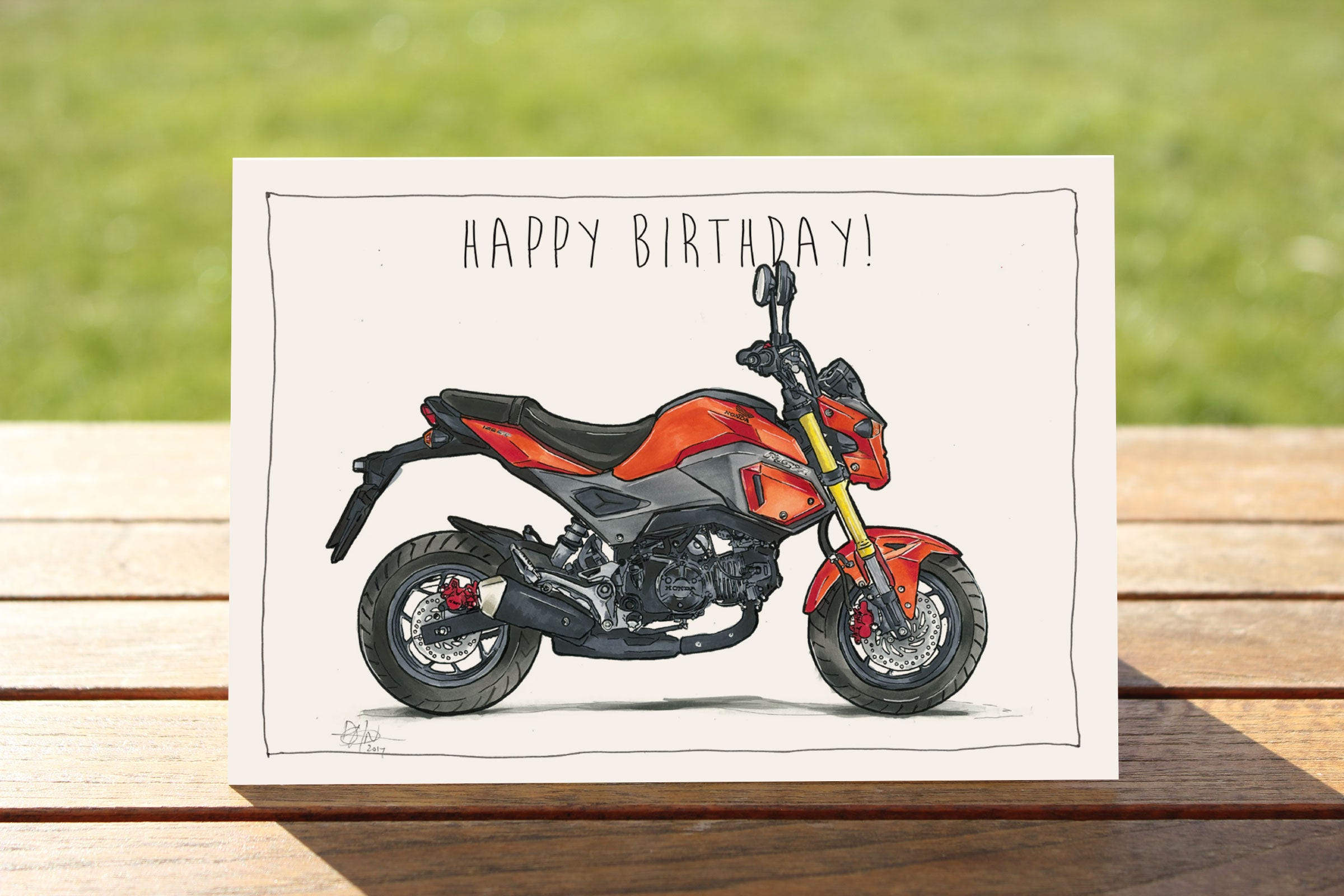 Motorcycle Birthday Card Red minibike – Motorbike Birthday Cards