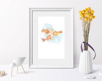 Art print goldfish, nursery art goldfish, illustration Koi, watercolour