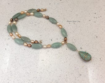 Meant to Be Necklace, Jade, Freshwater Pearls (dyed), 14Kt Gold (GF)