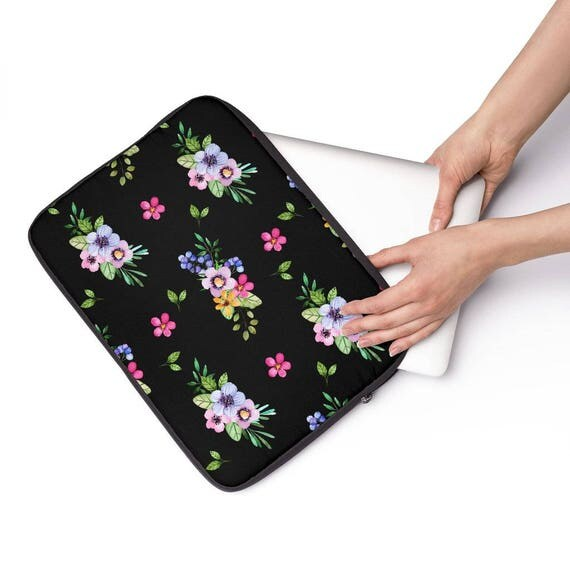 Laptop Sleeve Black with Floral Pattern Laptop Sleeve  - Available in 12 inch, 13 inch and 15 inch sizes