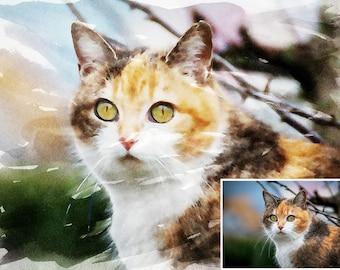 Custom Pet Portrait |  Dog/Cat portrait | Personalized Gift Idea | Watercolor Pet Portrait | Personalized Pet Portrait | Custom Dog Portrait