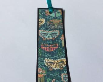 Paper bookmark, unique mask bookmark, masquerade, pretty, book lover gift, teacher gift token of appreciation, blue, graphic 45