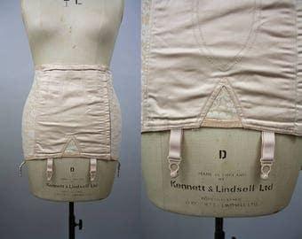 1960s Floral Girdle / 60s Waist Cincher / Suspender Straps / Peach Corset / Steel Boned / Deadstock Vintage / Size Large / XL XXL