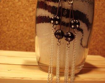 Earrings black pearls, rhinestones and chains