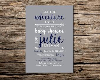 Custom Baby Shower Invitation Printable  Baby Shower Invitation  Let the Adventure Begin Baby Shower Invitation Arrows Baby Shower Adventure
