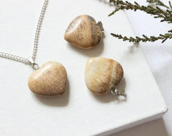 Picture Jasper Heart Necklace, Intention Jewelry, Harmony Necklace, Natural Gemstones, Natural Gemstone Necklace, Handmade Crystal Jewelry