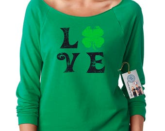 Love Shamrock Off the Shoulder Women's St. Patrick's Day Top