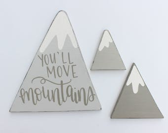 Hand Lettered Whimsical Ombre Grey Mountains - Set of Three