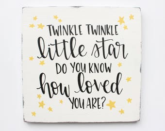 """Hand Lettered """"Twinkle Twinkle"""" Wood Sign"""