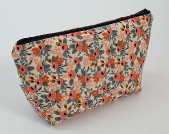 Floral Rifle Paper Co. zipper pouch with water resistant lining. Makeup pouch, pencil case, cosmetic bag