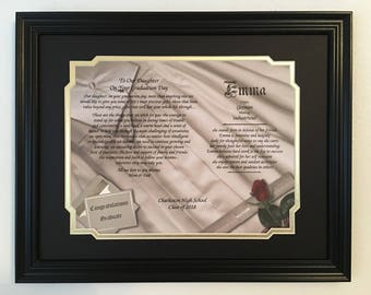 College Graduation Gift, For Daughter, Personalized Poem, Framed Print, Class Of 2018, High School Graduation, Party Ideas, Gift for Her