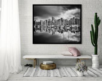 Large Wall Art Black and White, Sailboats, Vancouver Art, Nautical Gift, Vancouver Print, Vancouver Gift - Sailboats, Coal Harbour Marina