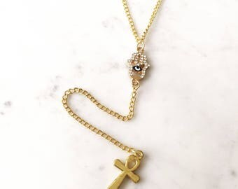 Rosary style gold chain diamonte hamsa hand charm necklace gold ankh charm,unique necklace,minimal jewelry,dainty jewelry gift for her