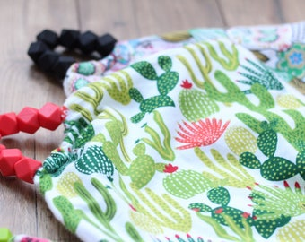 Baby Lovey Blanket Comfort Blanket Lovey Teether Silicone Beads Silicone Teether Baby Shower Gift Cactus Blanket Cacti Blanket Cactus Lovey