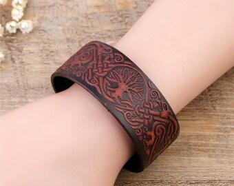 Yggdrasil bracelet leather