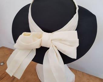 Vintage hat - formal hat - black and cream - races - wedding hat
