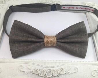 Rustic plain brown linen - man bowtie