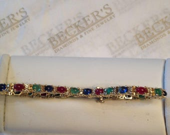"""Colorful Vintage 14k yellow gold Bracelet, Oval Cabochon Rubies, Sapphires & Emeralds with 52 Round Diamonds, 4.00 tw J-I1,2, 6 7/8"""" long"""