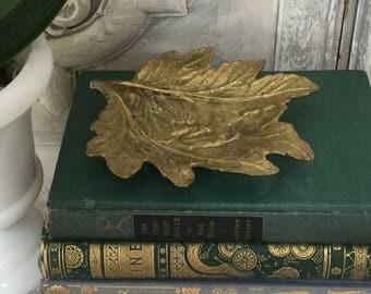 Vintage Brass Leaf / Virginia Metalcrafters Oscar JW Hansen / Chrysanthemum Leaf