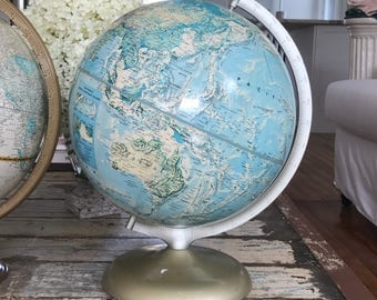 Beautiful VINTAGE WORLD GLOBE • Rand McNally Globe • Turquoise & Creme Hues • Metal Stand !