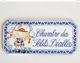 SALE Vintage door sign, bedroom door plaque in French for children . Little terrors bedroom !